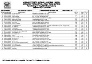 May 2014 Examinations erstwhile-aut-chennai