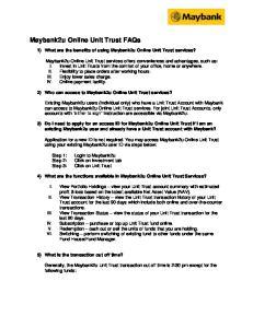 Maybank2u Online Unit Trust FAQs