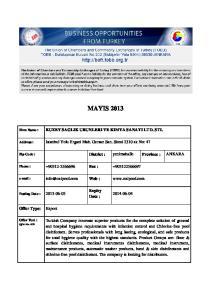 MAYIS 2013 KUZEY SAGLIK URUNLERI VE KIMYA SANAYI LTD. STI. Expiry Date : Export. Offer Type: