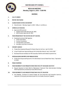 MAYOR AND CITY COUNCIL. REGULAR MEETING Monday, August 3, :00 PM AGENDA