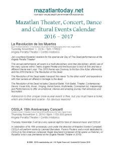 mazatlantoday.net YOUR BEST ONLINE MAZATLAN INFORMATION RESOURCES Mazatlan Theater, Concert, Dance and Cultural Events Calendar
