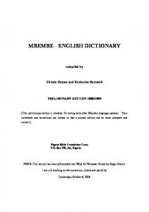 MBEMBE - ENGLISH DICTIONARY