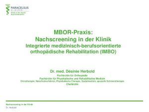 MBOR-Praxis: Nachscreening in der Klinik