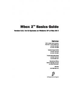 Mbox 2 Basics Guide. Version for LE Systems on Windows XP or Mac OS X. Digidesign