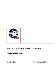 M.C. VICENTE CARDOZA LOPEZ CURRICULUM VITAE