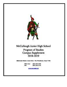 McCullough Junior High School Program of Studies Campus Supplement