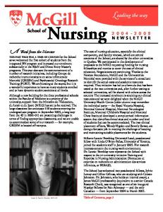 McGill Nursing. Leading the way