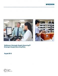 McKesson Strategic Supply Sourcing Strategic Supply Sourcing Help