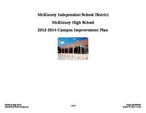 McKinney Independent School District McKinney High School Campus Improvement Plan