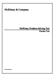 McKinsey & Company. McKinsey Problem Solving Test. Practice Test APTMetrics, Inc