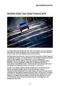 McKlein Rally Tips: Rally Finland 2017