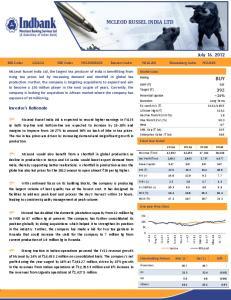 MCLEOD RUSSEL INDIA LTD BUY. July 16, Investor s Rationale