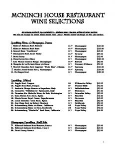 MCNINCH HOUSE RESTAURANT Wine selections