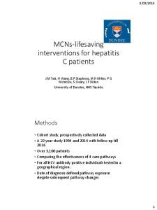 MCNs-lifesaving interventions for hepatitis C patients