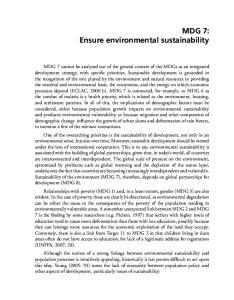 MDG 7: Ensure environmental sustainability
