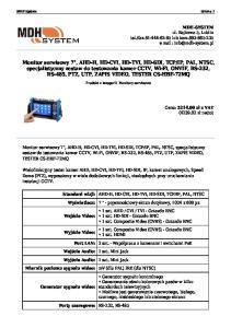 MDH System Strona 1. Produkt z kategorii: Monitory serwisowe