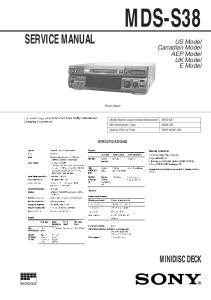 MDS-S37 SERVICE MANUAL MINIDISC DECK. US Model Canadian Model AEP Model UK Model E Model SPECIFICATIONS. Photo: Black