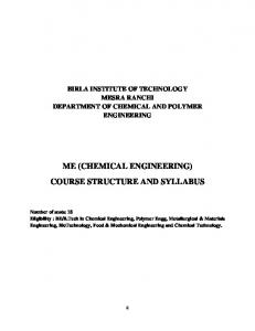 ME (CHEMICAL ENGINEERING) COURSE STRUCTURE AND SYLLABUS