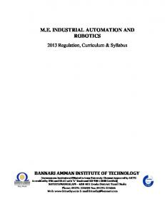 M.E. INDUSTRIAL AUTOMATION AND ROBOTICS