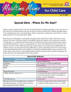 Mealtime Memo. Special Diets - Where Do We Start?