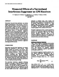 Measured Effects of a Narrowband Interference Suppressor on GPS Receivers