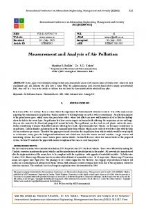 Measurement and Analysis of Air Pollution