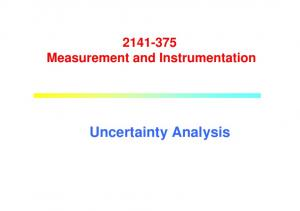 Measurement and Instrumentation. Uncertainty Analysis
