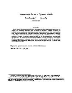 Measurement Errors in Dynamic Models