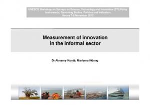 Measurement of innovation in the informal sector