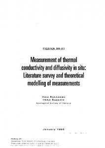Measurement of thermal conductivity and diffusivity in situ: Literature survey and theoretical modelling of measurements