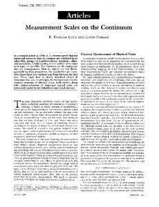 Measurement Scales on the Continuum