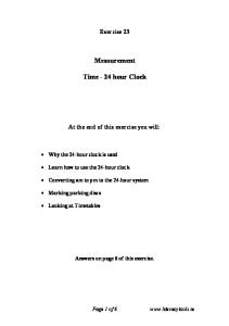 Measurement. Time - 24 hour Clock
