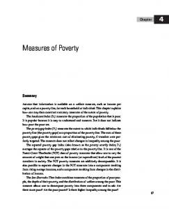 Measures of Poverty. Chapter. Summary