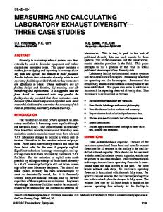 MEASURING AND CALCULATING LABORATORY EXHAUST DIVERSITY THREE CASE STUDIES