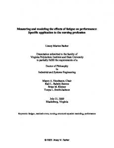 Measuring and modeling the effects of fatigue on performance: Specific application to the nursing profession