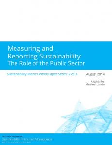 Measuring and Reporting Sustainability: The Role of the Public Sector