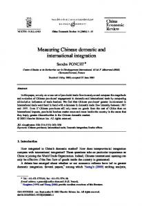 Measuring Chinese domestic and international integration
