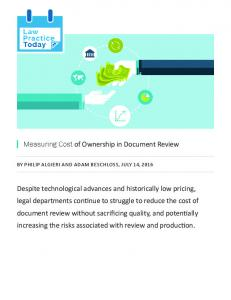 Measuring Cost of Ownership in Document Review