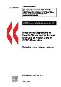 Measuring Disparities in Health Status and in Access and Use of Health Care in OECD Countries