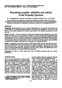 Measuring empathy: reliability and validity of the Empathy Quotient