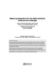 Measuring expenditure for the health workforce: evidence and challenges