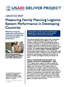 Measuring Family Planning Logistics System Performance in Developing Countries