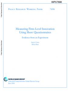 Measuring Firm-Level Innovation Using Short Questionnaires
