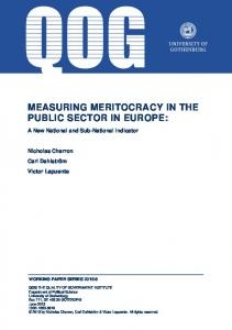 MEASURING MERITOCRACY IN THE PUBLIC SECTOR IN EUROPE: