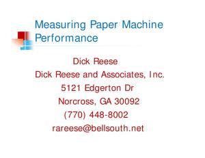 Measuring Paper Machine Performance