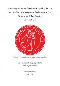 Measuring Police Performance: Exploring the Use of New Public Management Techniques in the Norwegian Police Service
