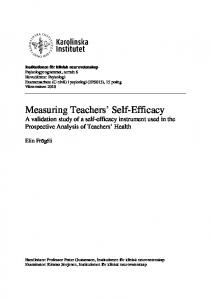 Measuring Teachers Self-Efficacy A validation study of a self-efficacy instrument used in the Prospective Analysis of Teachers Health