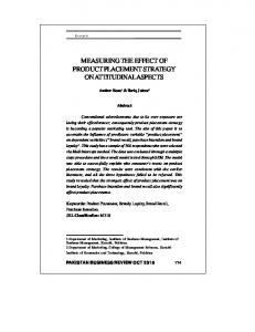 MEASURING THE EFFECT OF PRODUCT PLACEMENT STRATEGY ON ATTITUDINAL ASPECTS