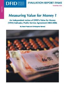 Measuring Value for Money?