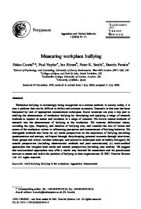 Measuring workplace bullying